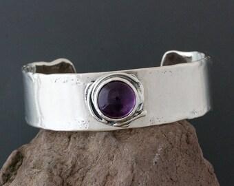 Sterling Silver and Amethyst Cuff Bracelet - Silver Cuff - Amethyst Bracelet - Wide Cuff - Statement Bracelet - Sterling Cuff - Purple Stone