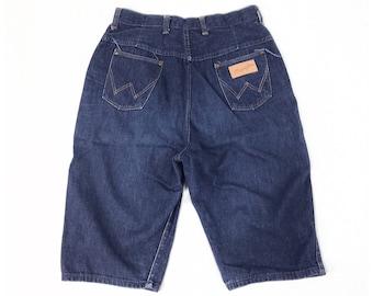 Vintage 50s Denim Shorts 29, High Waisted Shorts, Wrangler Shorts, Rockabilly Shorts, Long Jean Shorts, High Waist 50s Shorts, SIZE 29 x 13