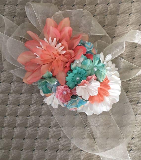 Peach and teal gender neutral bump bouquet pregnancy corsage sash