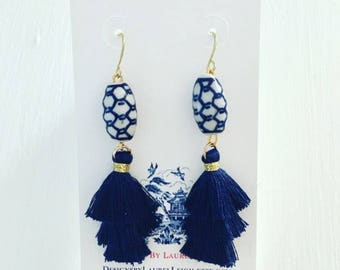 NAVY Mini Stacked Tassel Earrings | blue and white, short, gold, dangle, lightweight, dainty, tiered, layered, Chinoiserie