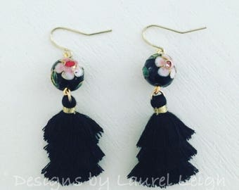 BLACK Chinoiserie Stacked Mini Tassel Earrings | tiered, layered, cloisonné, floral, gold, statement earrings, lightweight