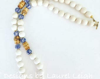 Chinoiserie Bamboo Beaded Necklace | blue and white, neutral, chunky, gold, long, statement necklace, Designs by Laurel Leigh
