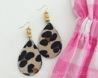 BAMBOO and LEOPARD PRINT Earrings | Chinoiserie, statement earrings, gold, animal, print, leather, fur