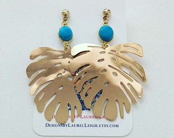 GOLD and TURQUOISE Palm Leaf Earrings   lightweight, gold, post earrings, palm leaves, statement earrings