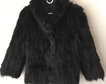 Chic Short Vintage Black Genuine Fur Coat Warm And Cozy Woman Size Small.