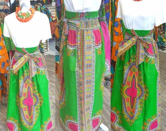 Dashiki  Maxi Skirt with Pockets