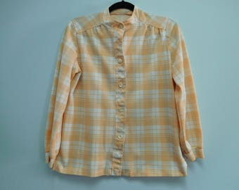 Vintage Peach with Blue and Cream Plaid Front Button Blouse 40 Inch Bust