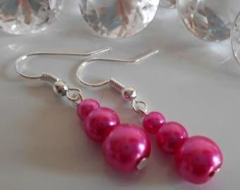 Trio of fuchsia Pearl wedding earrings