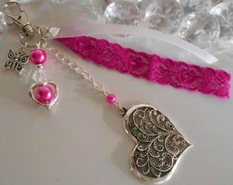 Bag charm / key ring heart romantic fuchsia