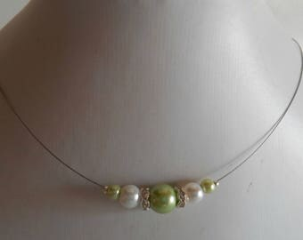 Bridal rhinestone and lime green and white beads