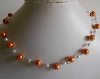 Bridal twist beads Orange bronze and white
