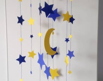 Beautiful hanging Mobile blue and yellow stars to decorate a child's room