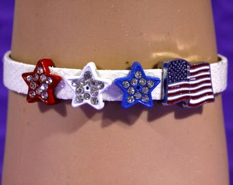 Patriotic Slider Bracelet Red White and Blue Stars or Hearts American Flag Slide Charm 4th of July Fashion Jewelry Adjustable Leather Band