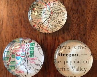 Oregon State Set of three glass marble magnets