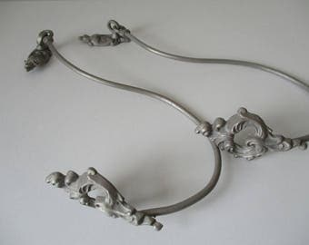 PAIR of door EMBRASE brass for curtains, weathered gray-
