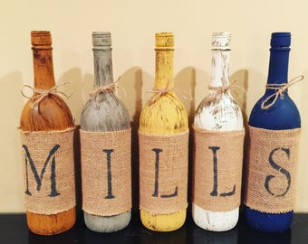 Rustic Wine Bottle Home Decor, Personalized Rustic Home Decor, Rustic Last Name Wine Bottles, Last Name Wine Bottles