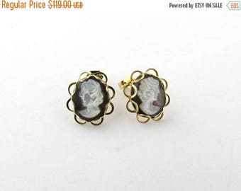 4th of July Sale Vintage 14K Yellow Gold Cameo Stud Earrings #1273