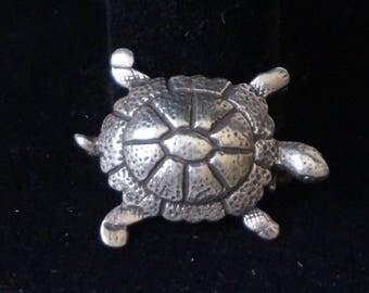 Cute, silver brooch pin Turtle,hallmark MKV
