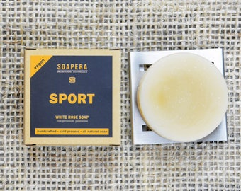 White Rose Sport Soap-Head to Toe  After Sport / Training Soap- Soap Era all natural handmade vegan soap