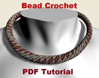 Bead crochet rope pattern for beading necklace «Peekaboo» Instant Download
