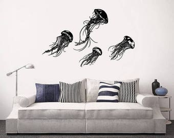 Jellyfish  wall decal, Sea Ocean wall decal, Deep Water wall sticker, Scuba wall decal, bedroom sticker, Diving wall sticker, bedroom cwd264