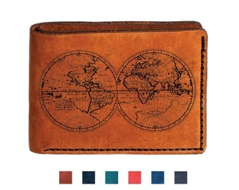 Custom travel wallet etsy world map travel mens leather wallet world map wallet bifold wedding wallet engraved personalized custom wallet gumiabroncs Image collections
