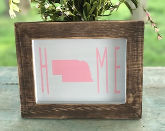 Nebraska Rustic Home Framed Sign in Pink