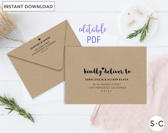 Wedding Envelopes DIY Envelope Addressing Template Printable A7