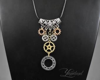 Handmade steampunk necklace | long steampunk necklace | necklace with gears | necklace with cogs