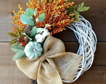 Fall wreath pumpkin wreath white farmhouse wreath burlap wreath rustic autumn wreath turquoise wreath Thanksgiving wreath eucalyptus wreath