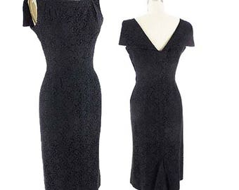 60s Black Lace Cocktail Dress-1960s Wiggle Dress-Pencil Skirt-Classy-Audrey-LBD-Little Black Dress-Sm-Med