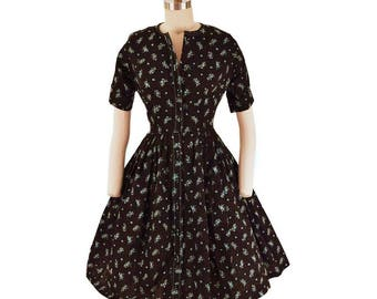 60s Floral Shirtwaist Dress-1960s Full Skirt Dress-Floral Print Cotton-Fit and Flare-Midi Dress-Button Front-S-M-Small-Medium