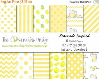 50% OFF SALE Lemonade Inspired digital paper pack for scrapbooking, Making Cards, Tags and Invitations, Instant Download