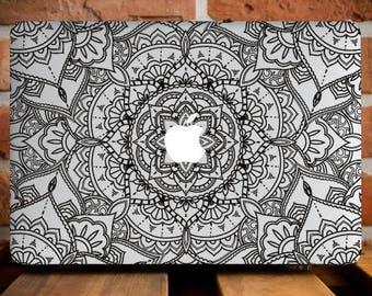 Black Flower Mandala MacBook Air 13 Case MacBook Air Cover MacBook Air 11 Hard Case Mac Air 13 Cover MacBook Air 11 Mandala Cover Mac Case