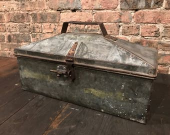1940s Machinist Tool Chest Bare Metal Industrial Decor Tote