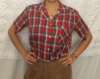 Vintage 70's red white and blue plaid shirt/short sleeve button down shirt