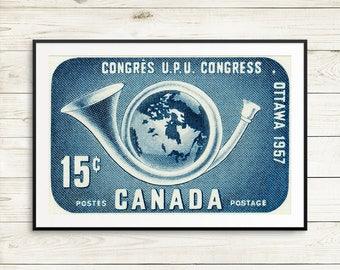 P104 Ottawa Canada, 1950s art, Ottawa poster, Canada poster, Canada stamps, Canadian stamps, postage stamps, postage stamp art, used stamps