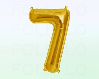 Metallic Gold Number 7 Balloon | Gold 7 Birthday Balloon | Gold Number 7 Balloon | Jumbo Number 7 Balloon