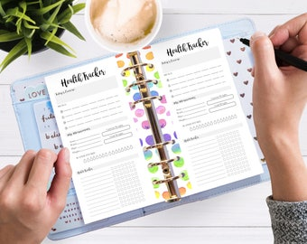 Printable Planner Inserts - Personal Daily Health Tracker -  Filofax Personal or Kikki K Medium