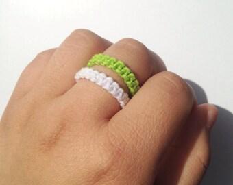 Green and white hemp ring, macrame ring, stackable ring, unisex ring, loop ring, gift ring, boho ring, braided ring