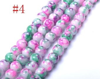 5 CHIC GLASS ROUND BEADS. MULTICOLOR. 6MM.