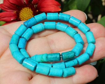4 beads Azurite Chrysocolla column 9 X 6 MM.