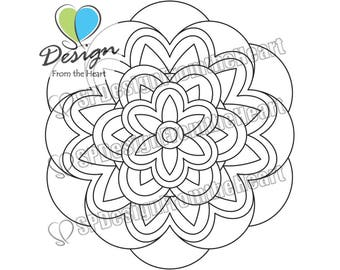 Simple Mandala Coloring Page #5, Printable Adult Coloring Page, Digital Download, Relaxation, Meditation, Peace