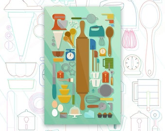 Baking Collection Print - Kitchen Art Poster - Tools & Utensils Decor - Pastry - Bread - Dough - Knolling - Graphic Design Poster