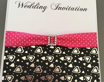 Budget Foil heart wedding invitation