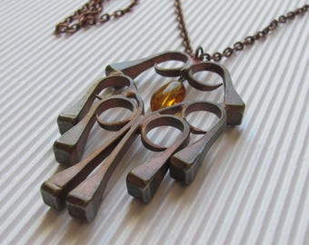 Swedish Vintage Necklace; Pendant Necklace made of Horseshoe Nails with Amber, Brutalist Jewelry Necklace; Vintage Jewelry; Boho Necklace