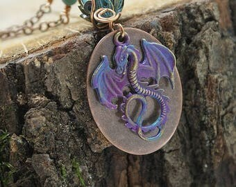 Dragon necklace, copper medallion, turquoise and purple beads