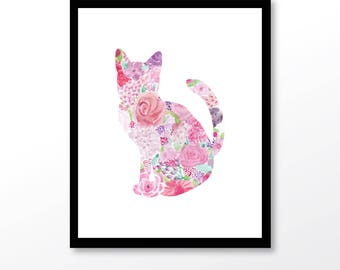 cat printable, cat wall print, cat watercolor art, pink cat wall art, cat poster, girl nursery decor, cat lover gift, kitten wall decor