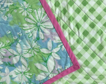 Baby Quilt / Car Seat Quilt / Baby Gift / Floral Quilt / Gingham Quilt / Vintage Linens / Upcycled Linens / Repurposed Sheets / Spring Gift