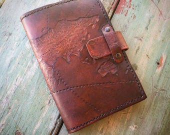 World Map leather passport wallet